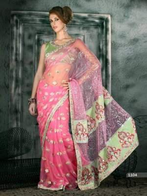 Indian Bollywood Designer Embroiderey Wedding Bridal Saree Sari - CH 1104