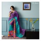 Faux Georgette Deep Blue Partywear Printed Saree Sari With Blouse - LPT 1987