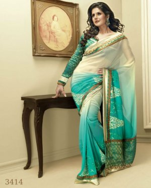 Sari Saree Indian Bollywood Designer Embroidered Fancy - X 3414