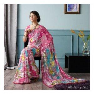 Brasso Partywear Printed Saree Sari With Blouse - LPT 1975