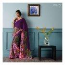 Faux Georgette Purple Partywear Printed Saree Sari With Blouse - LPT 2002