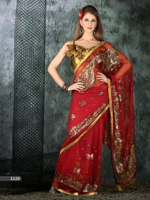 Indian Bollywood Designer Embroiderey Wedding Bridal Saree Sari - CH 1119