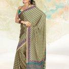 Faux Crape Sarees Sari Designer Printed Casual Fancy Saris - X 821B