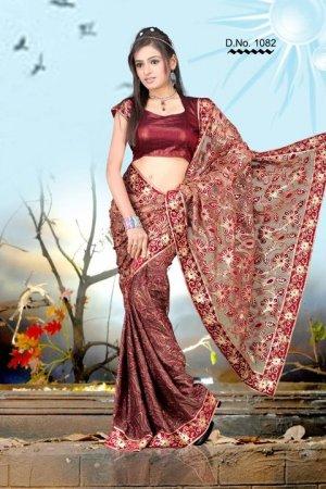 Indian Bollywood Designer Embroiderey Wedding Bridal Saree Sari - CH 1082