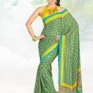 Faux Crape Sarees Sari Designer Printed Casual Fancy Saris - X 824A