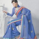 Saree Bridal Faux Georgette Georgeous Embroidery Sari With Unstich Blouse-X810 N