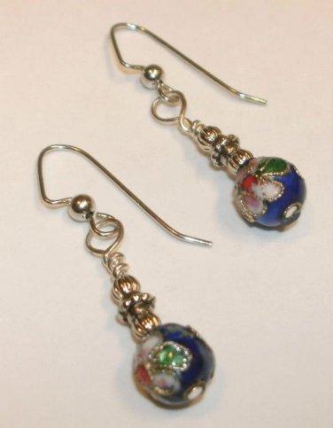 Vintage Style Cloisonne Bead Earrings (blue)