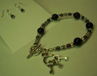 Dark Amythest Galaxy Bead Bracelet/Earring Set