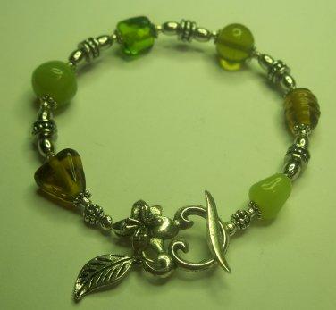 Green Glass Bead Tibetan Silver Bracelet