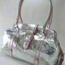 Double Strap Metallic Handbag with Front Rhinestone Buckle and Contrasting Trim