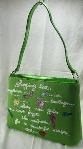 """Lime """"Shopping List"""" Metallic Color Trim and Glitter Design"""