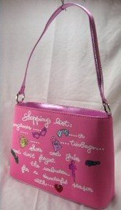 """Pink """"Shopping List"""" Metallic Color Trim and Glitter Design"""