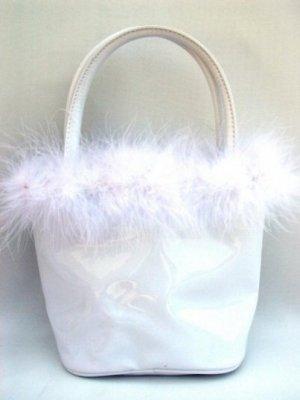 Anarkey - White Petite Bucket Handbag with Feather Marabou Trim
