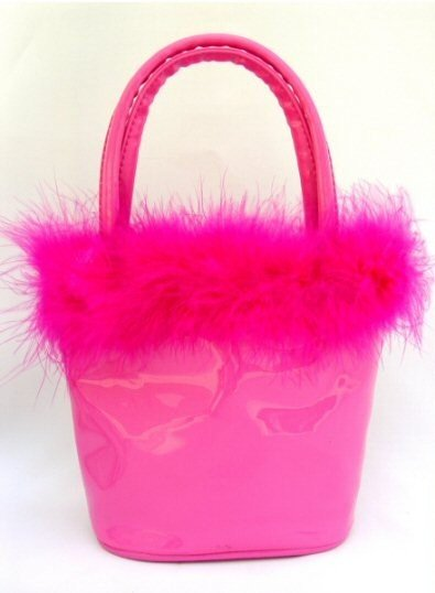 Anarkey - Fuchsia Petite Bucket Handbags with Feather Marabou Trim