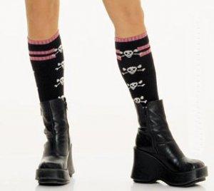 Knit Striped Top Socks with Side Skulls