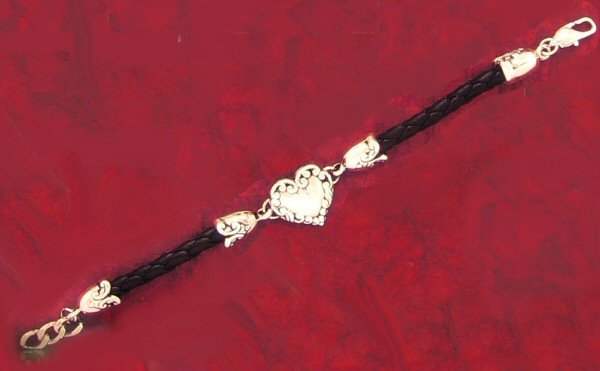 Antique Look Heart and Braided Leather Bracelet