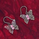 Butterfly Scroll Earrings with Crystal Accent