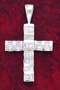 Cross Pendant with Baguette CZ Inlay