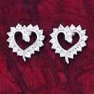 CZ & White Gold Plated Heart Cluster Earrings