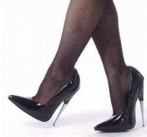 """Scream"" - Women's Spike Stiletto Heel Shoes in Black Gloss"