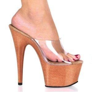 Adore - Women's Clear Strap Open Toe Faux Wood Platform Stilleto Slides in Tan