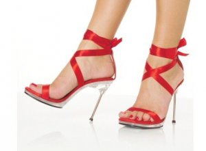 """Chic"" - Women's Stiletto Heels/Shoes with Satin Ankle Laces in Red"