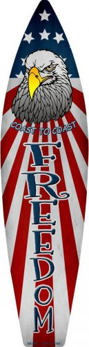 Freedom Metal Novelty Surf Board Sign