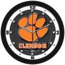 Clemson Tigers Carbon Fiber Textured Wall Clock