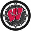 Wisconsin Badgers Carbon Fiber Textured Wall Clock
