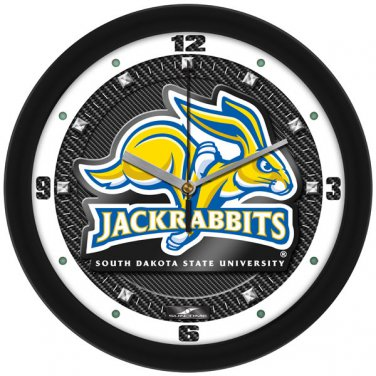 South Dakota State Jackrabbits Carbon Fiber Textured Wall Clock