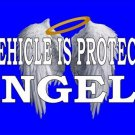 Vehicle Protected By Angels Blue Photo License Plate