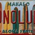 Honolulu Surfboards Hawaii State Background Novelty Metal License Plate