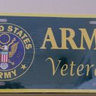 US United States Army Veteran Metal Novelty License Plate