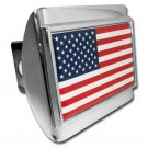 American Flag ALL METAL Shiny Chrome Hitch Cover