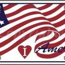 I Love America Flag Vanity Metal Novelty License Plate