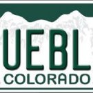 Pueblo Colorado Background Novelty Metal License Plate