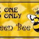Queen Bee Yellow Metal Novelty License Plate