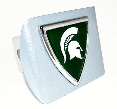 Michigan State Shield Metallic Silver Hitch Cover