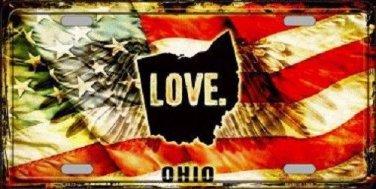 Ohio Love Novelty Metal License Plate