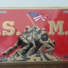 U.S. Marine with Iwo Jima Memorial Design in Gold on Red Embossed Metal License
