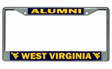 West Virginia University Alumni On Blue Chrome License Plate Frame
