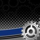 Racing Gears Offset Blue and Black Vanity Metal Novelty License Plate