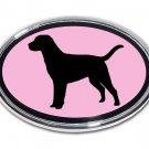 Labrador Oval Chrome Auto Emblem (PINK)