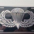 U.S. Army Jump Wings in Silver On Black Embossed Metal License Plate
