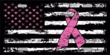 Vintage American Flag Pink Ribbon Novelty Metal License Plate