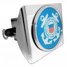 Coast Guard Blue Emblem on Shiny Chrome Plastic Hitch Cover