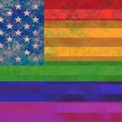 U.S. Flag Rainbow Gay Pride Photo License Plate