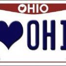 I Love Ohio Background Novelty Metal License Plate
