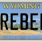 Rebel Wyoming Metal Novelty License Plate