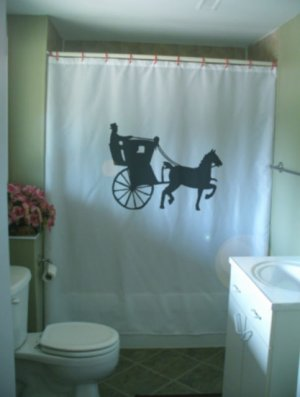 Bath Shower Curtain hansom cab horse drawn carriage safety
